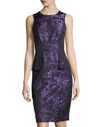 Teri Jon Sleeveless Peplum Dress Purple
