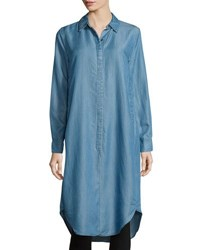 Neiman Marcus Long Sleeve Chambray Tunic Blue
