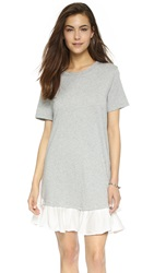 Clu Ruffle Tee Dress Heather Grey White
