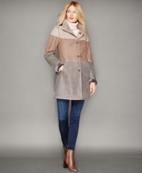 The Fur Vault Shearling Lamb Colorblocked Coat
