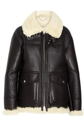 Burberry Shearling Lined Leather Coat Black