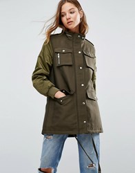Mango Waxed Parka With Contrast Sleeves Khaki Green