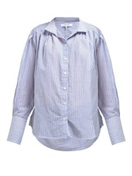 Frame Pleated Striped Cotton Shirt Light Blue