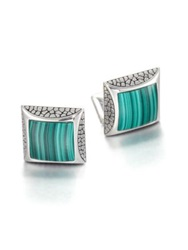Stephen Webster Sterling And Malachite Cuff Links Green