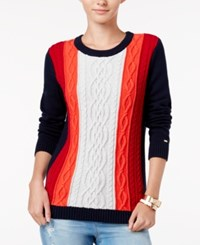 Tommy Hilfiger Lucy Cable Knit Sweater Masters Navy Multi