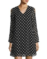 Neiman Marcus Polka Dot Cold Shoulder Dress Black White