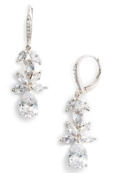 Nina Floral Cubic Zirconia Earrings White Silver