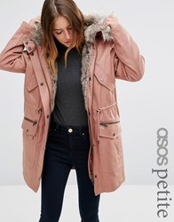Asos Petite Parka With Detachable Faux Fur Liner Pink