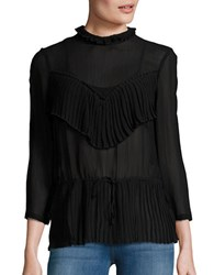 Tracy Reese Pleated Panel Mockneck Top Black