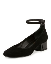 Saint Laurent Babies Suede Block Heel Ankle Wrap Pump Black Noir