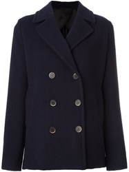 Msgm Short Double Breasted Coat Blue