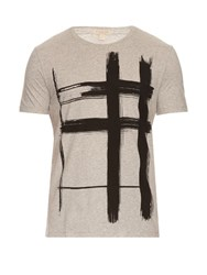 Burberry Brushstroke Check Print Cotton T Shirt Grey Multi