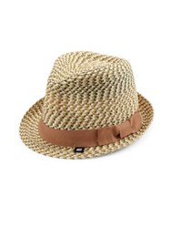 Block Headwear Tonal Braided Straw Fedora Natural