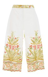 Blugirl High Waisted Embroidered Crop Pants Multi