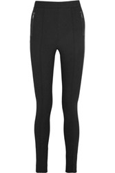 Moncler Fleece Lined Twill Leggings Black