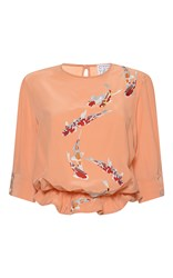 Stella Jean Strana Embroidered Short Sleeve Blouse Coral