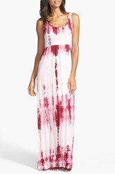 Daniel Buchler Tie Dye Maxi Dress Red
