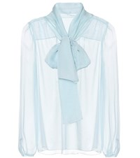 Dolce And Gabbana Sheer Silk Blouse Blue