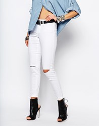 Noisy May Devil High Waist Skinny Jeans With Slit Knees White