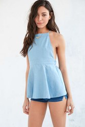 Urban Outfitters Cooperative Chambray Apron Tunic Top Light Blue
