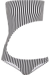 Norma Kamali Striped Cutout Bandeau Swimsuit Black