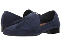 French Sole Chime Loafer Navy Suede Slip On Shoes Blue