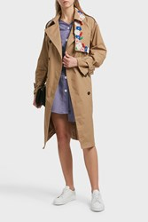 Sjyp Embroidered Cotton Blend Trench Coat Beige