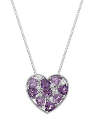 Lord And Taylor Sterling Silver Multi Amethyst And White Topaz Heart Pendant Necklace