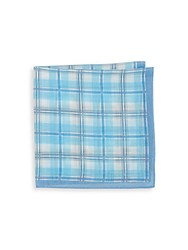 Saks Fifth Avenue Silk Blend Check Printed Square Handkerchief Bright Blue