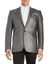 Tallia Orange Metallic One Button Jacket Silver