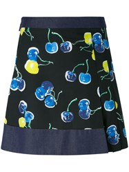 Msgm Cherries Print A Line Skirt Black