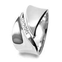 Hot Diamonds Pave Leaf Silver Ring Silver