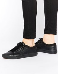 Fred Perry Black Kendrick Leather Tipped Cuff Trainers