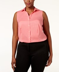 Charter Club Plus Size Sleeveless Shirt Only At Macy's Strawberry Pink