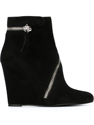 Alexander Mcqueen Skull Zipper Wedge Boots Black