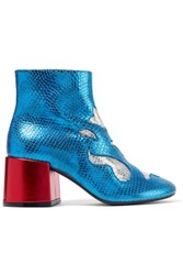 Maison Martin Margiela Mm6 Metallic Snake Effect Leather Ankle Boots Blue