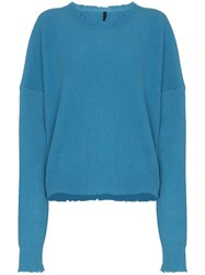 Unravel Project Distressed Effect Ribbed Jumper Blue