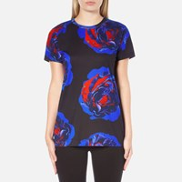 Dkny Women's Short Sleeve Comic Rose Print T Shirt Black Multi