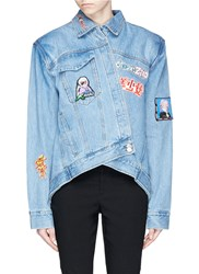 Ground Zero Mixed Anime Patch Asymmetric Denim Jacket Blue