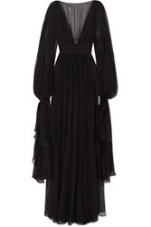 Saint Laurent Ruffled Tiered Silk Chiffon Gown Black