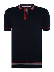 Merc Mens Knitted Tipped Polo Navy