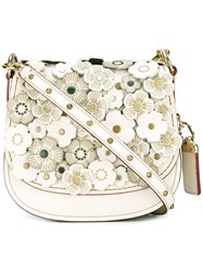 Coach Flower Embellished Crossbody Bag Nude Neutrals