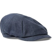 Brunello Cucinelli Prince Of Wales Checked Linen Flat Cap Navy