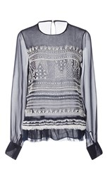 Prabal Gurung Long Sleeve Embroidered Blouse Multi