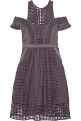 Self Portrait Stardust Cutout Mesh Dress Dark Gray