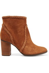 Schutz Silman Braided Suede Ankle Boots Light Brown