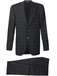 Isaia Checked Suit Grey