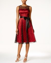 Jessica Howard Illusion Sash Fit And Flare Dress Black Red