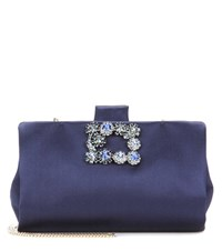 Roger Vivier Soft Flowers Crystal Embellished Satin Clutch Blue
