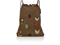 Campomaggi Canvas And Leather Drawstring Backpack Green